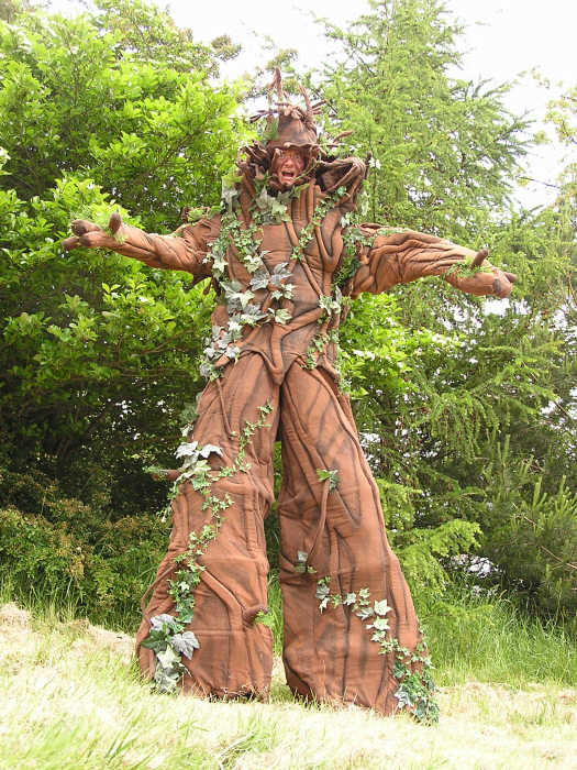 A stilt walking tree available for all those green events.