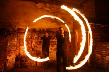 Fire poi performing duo