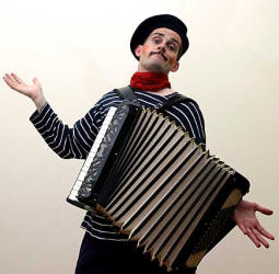 French accordian player also available on stilts