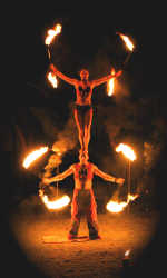 Dream Fire Headstand and staffs