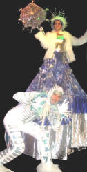 Stiltwalking Snow Queen and Ice Creature