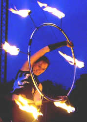 Annete with fire hoola hoop
