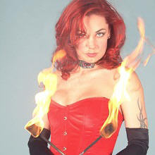 Female fire entertainer