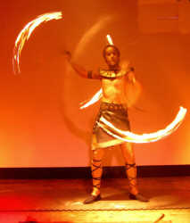 Egyptian fire performer with poi
