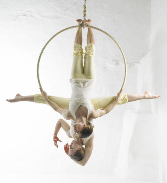 Lilli and Sara, aerial hoop performers