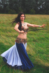 Caitlyn bellydancer with sword - to book contact www.circusperformers.co.uk