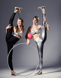 Flexible perfomers using hoops, ribbons, balls, clubs - to book contact www.circusperformers.co.uk
