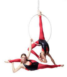 Aerial hoop performers - to book contact www.circusperformers.co.uk