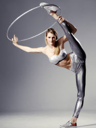 Female contortionist using hoops - to book contact www.circusperformers.co.uk