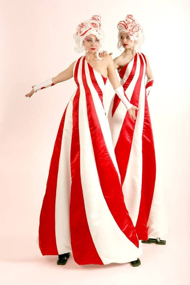 Christmas candy cane stiltwalkers